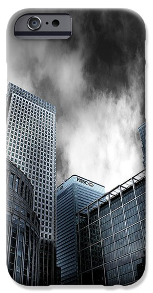 Grey Clouds Photographs iPhone Cases - Canary Wharf iPhone Case by Martin Newman
