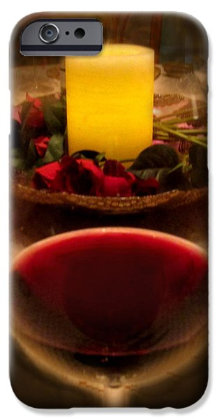 Table Wine iPhone Cases - Candle And Wine iPhone Case by Ian  MacDonald