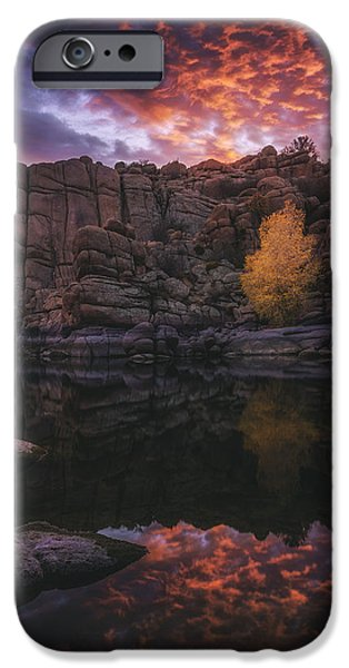 Watson Lake iPhone Cases - Candle Lit Lake iPhone Case by Peter Coskun