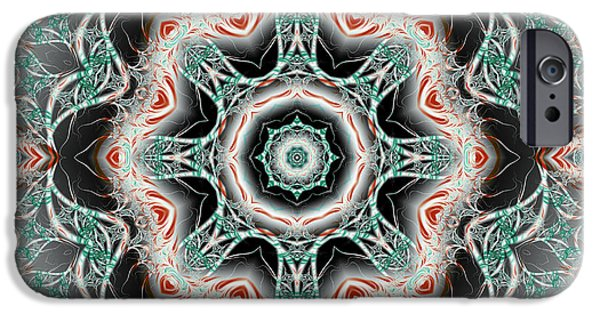 Abstract Digital iPhone Cases - Candy Cane Fractal Mandala iPhone Case by Marv Vandehey