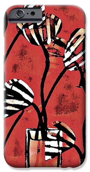 Sarah Loft iPhone Cases - Candy Stripe Tulips 2 iPhone Case by Sarah Loft