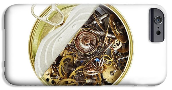Watch Parts iPhone Cases - Canned Time - Parts Of Clockwork Mechanism In The Can iPhone Case by Michal Boubin