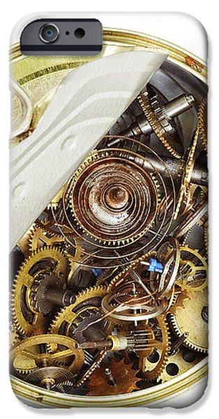 canned time - parts of clockwork mechanism in the can iPhone Case by Michal Boubin