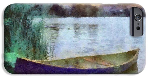 Shore Digital Art iPhone Cases - Canoe iPhone Case by Anthony Caruso