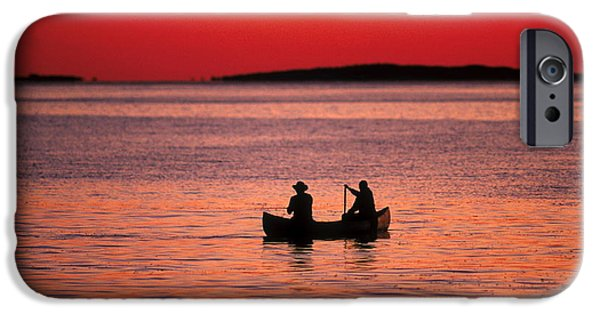 Canoe iPhone Cases - Canoe Fishing iPhone Case by John Greim