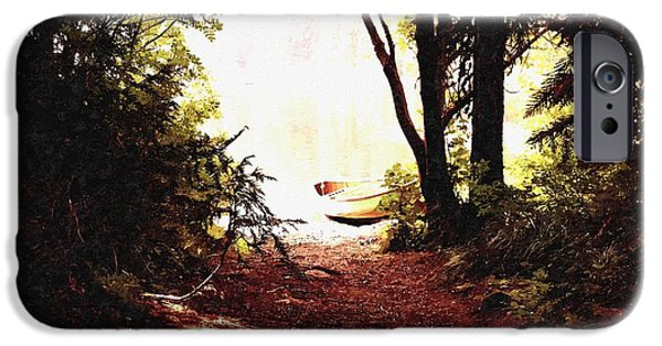 Business Paintings iPhone Cases - Canoe on The River Bank H b iPhone Case by Gert J Rheeders