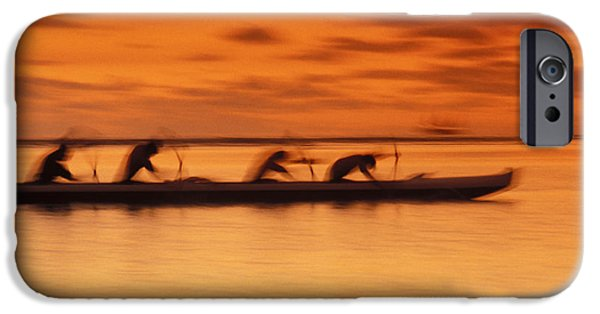 Adrenaline iPhone Cases - Canoe Paddlers At Sunset iPhone Case by Joe Carini - Printscapes