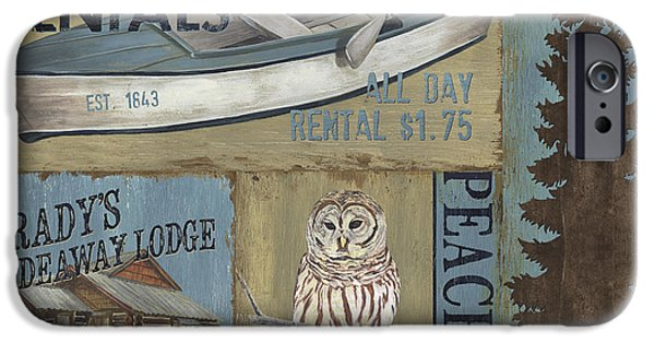 Flight Paintings iPhone Cases - Canoe Rentals Lodge iPhone Case by Debbie DeWitt