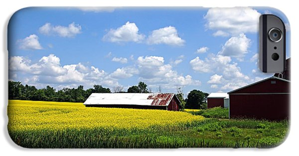 Field. Cloud iPhone Cases - Canola Farm iPhone Case by Debbie Oppermann