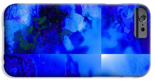 Abstract Digital Tapestries - Textiles iPhone Cases - Canter da Blue iPhone Case by Laura Boyd