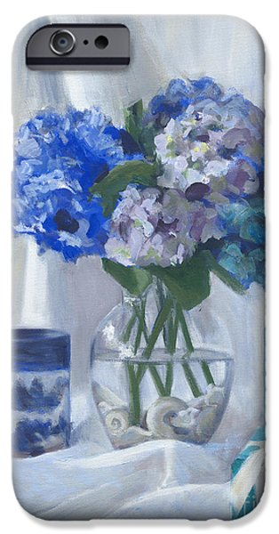 Sheets iPhone Cases - Canton Hydrangeas and Tiffany iPhone Case by Candace Lovely
