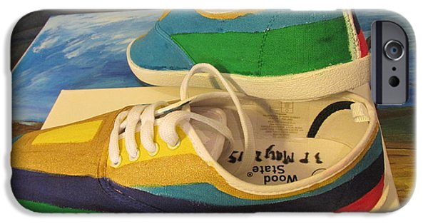 States Tapestries - Textiles iPhone Cases - Canvas Shoe Art 003 iPhone Case by Mudiama Kammoh