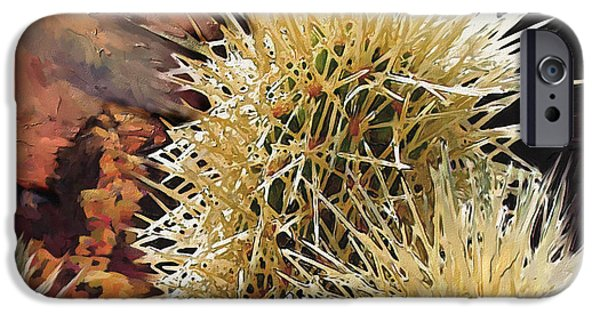 Red Rock Mixed Media iPhone Cases - Canyon Cactus iPhone Case by Bob Salo