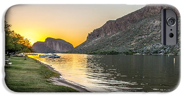 Beach Landscape iPhone Cases - Canyon Lake Sunset iPhone Case by Chuck Brown