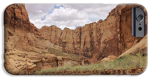 Slickrock iPhone Cases - Canyon Scenery in the Muddy Creek iPhone Case by Tonya Hance