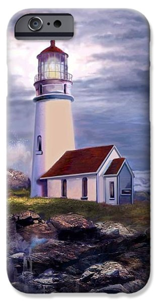 Phone iPhone Cases - Cape Blanco Oregon Lighthouse on Rocky Shores iPhone Case by Gina Femrite