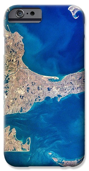 Nantucket iPhone Cases - Cape Cod and Islands Spring 1997 view from satellite iPhone Case by Matt Suess