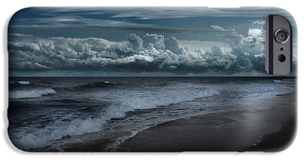 Moonscape iPhone Cases - Cape Cod Ocean Moon iPhone Case by Bill Wakeley