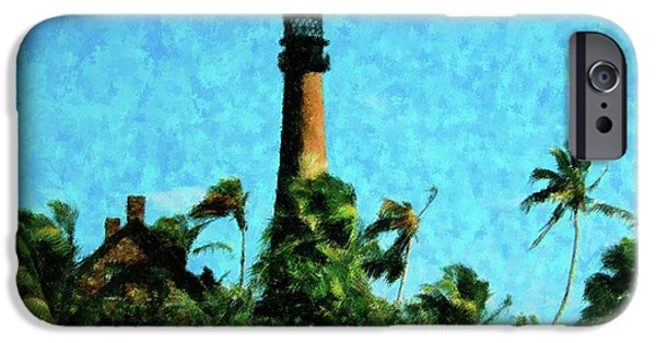 Buildings Mixed Media iPhone Cases - Cape Florida Lighthouse iPhone Case by Florene Welebny