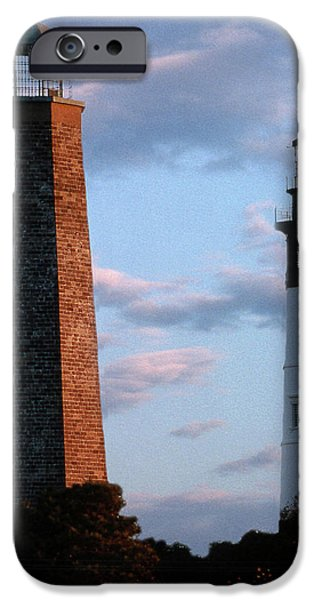 Lighthouse iPhone Cases - Cape Henry Lighthouses In Virginia iPhone Case by Skip Willits