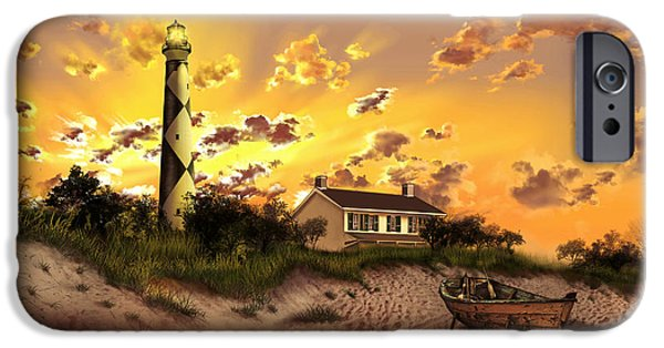Cape Lookout iPhone Cases - Cape Lookout Lighthouse 2 iPhone Case by MB Art factory