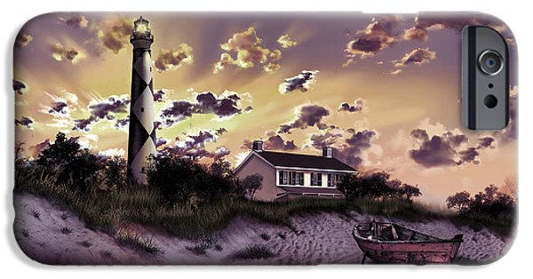 Cape Lookout iPhone Cases - Cape Lookout Lighthouse iPhone Case by MB Art factory