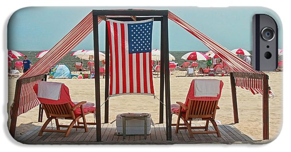 American Flag iPhone Cases - Cape May Cabanas 3 iPhone Case by Allen Beatty