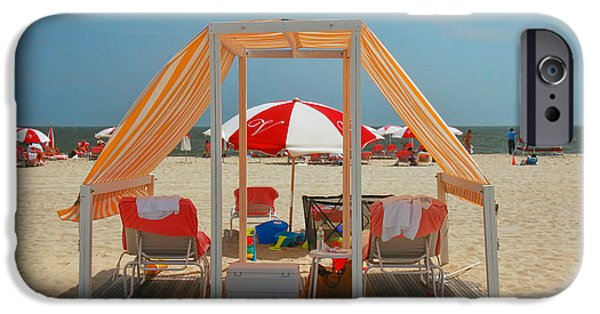 Stripes iPhone Cases - Cape May Cabanas 5 iPhone Case by Allen Beatty