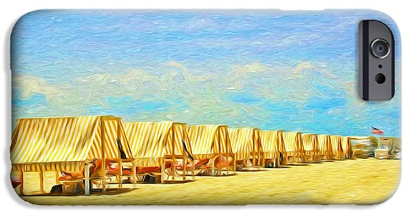 Stripes iPhone Cases - Cape May Cabanas 7 Digital Painting iPhone Case by Allen Beatty