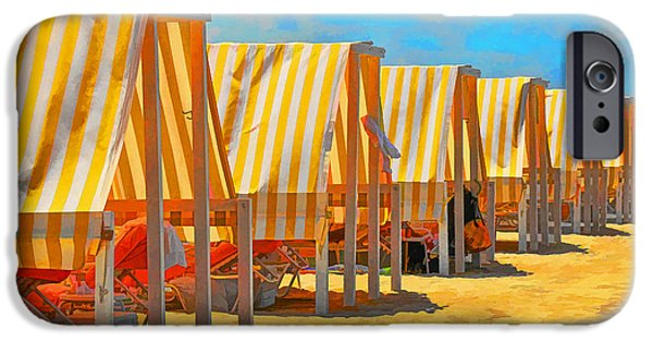 Stripes iPhone Cases - Cape May Cabanas 8 Digital Painting iPhone Case by Allen Beatty