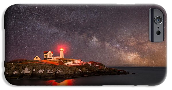 Nubble Lighthouse iPhone Cases - Cape Neddick Light Milky Way iPhone Case by Michael Ver Sprill