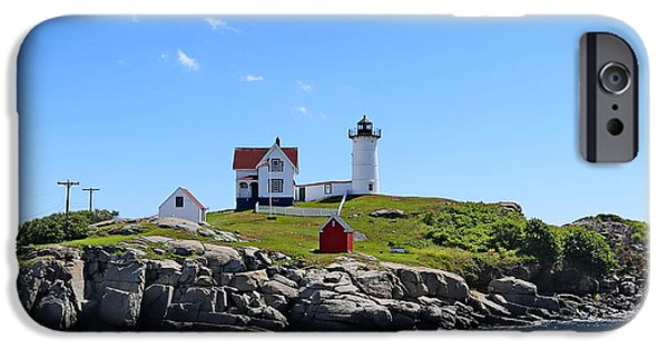 Nubble Lighthouse iPhone Cases - Cape Neddick Light Station  iPhone Case by Marcel  J Goetz  Sr