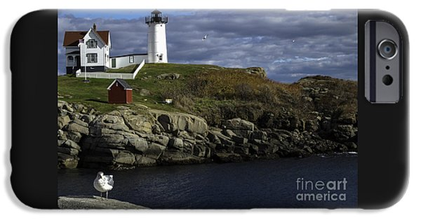 New England Lighthouse iPhone Cases - Cape Neddick Lighthouse iPhone Case by Mim White