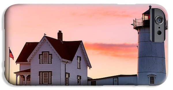 New England Lighthouse iPhone Cases - Cape Neddick Lighthouse Sunrise iPhone Case by Jerry Fornarotto