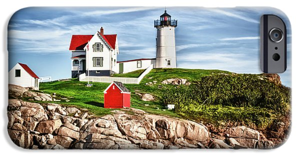 Nubble Lighthouse iPhone Cases - Cape Neddick Nubble Light in York Maine iPhone Case by Thomas Logan