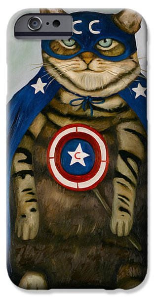 4th July Paintings iPhone Cases - Captain Cat Super Hero iPhone Case by Leah Saulnier The Painting Maniac