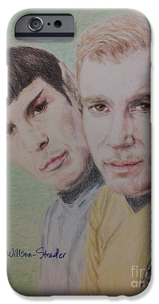 Enterprise Drawings iPhone Cases - Captain Kirk and First Officer Spock iPhone Case by N Willson-Strader