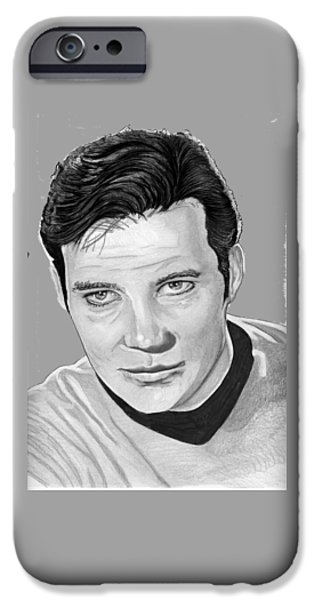 Enterprise Drawings iPhone Cases - Captain Kirk iPhone Case by Bill Richards