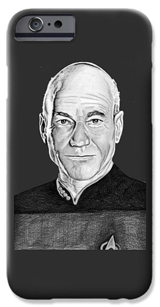 Enterprise Drawings iPhone Cases - Captain Picard iPhone Case by Bill Richards