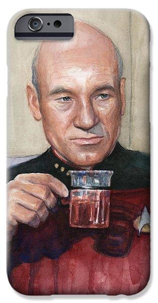 Science Fiction Paintings iPhone Cases - Captain Picard Earl Grey Tea iPhone Case by Olga Shvartsur