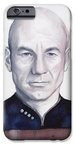 Science Fiction Paintings iPhone Cases - Captain Picard iPhone Case by Olga Shvartsur