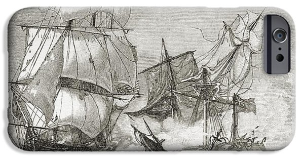 Constitution Drawings iPhone Cases - Capture Of The Guerriere By The iPhone Case by Ken Welsh