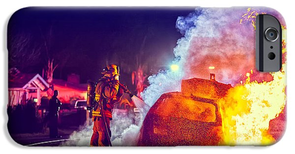 Police iPhone Cases - Car Arson  iPhone Case by TC Morgan