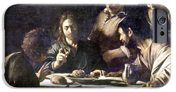 Caravaggio Paintings iPhone Cases - Caravaggio: Emmaus iPhone Case by Granger