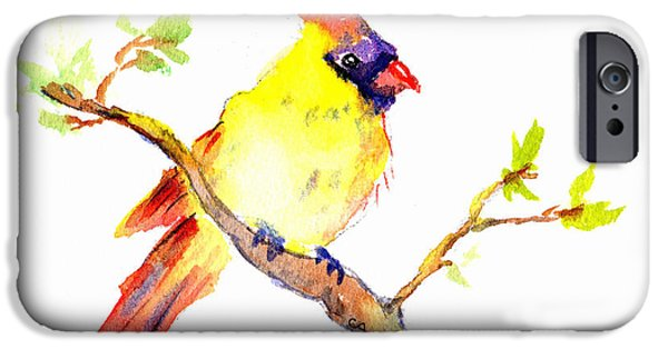 Berry iPhone Cases - Cardinal Bird Female iPhone Case by Carlin Blahnik