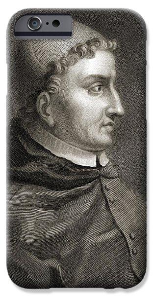 Religious Drawings iPhone Cases - Cardinal Francisco Jimenez De Cisneros iPhone Case by Vintage Design Pics