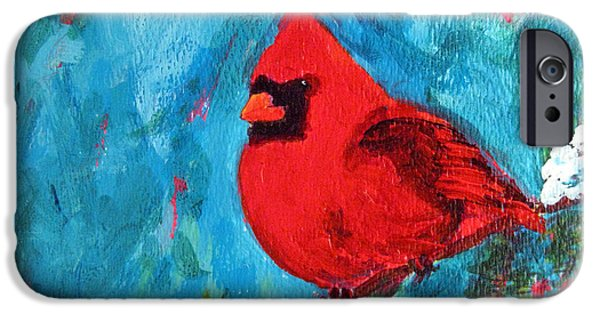Baby Bird Paintings iPhone Cases - Cardinal Red Bird iPhone Case by Patricia Awapara