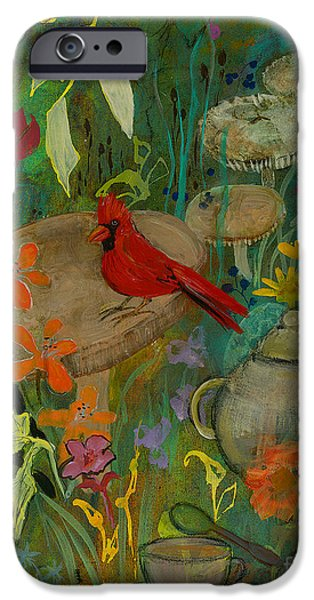 Tea Party iPhone Cases - Cardinal Tea iPhone Case by Robin Maria  Pedrero