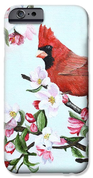 Cardinals and Apple Blossoms iPhone Case by Johanna Lerwick