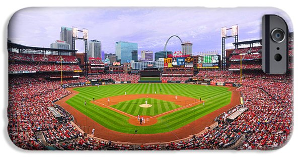 Baseball Stadiums iPhone Cases - Cardinals Host Tigers at Busch iPhone Case by C H Apperson